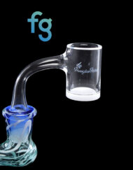 14mm 90 Degree Male 25mm Wide Quartz Banger with Beveled Edge and Opaque Bottom by Honeybee Herb for Heady Glass Dab Rigs available at Fourward Glass Gallery & Smoke Shop in downtown St. Petersburg, Florida