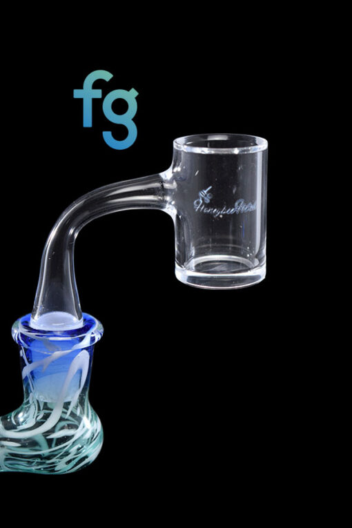 14mm 90 Degree Male 25mm Wide Quartz Banger with Beveled Edge by Honeybee Herb for Heady Glass Dab Rigs available at Fourward Glass Gallery & Smoke Shop in downtown St. Petersburg, Florida