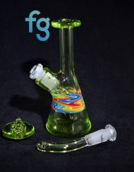 Absinthe and Rainbow Wig Wag Custom Heady Glass Minitube Waterpipe Vapor Rig with XXL Directional Flow Carb Cap by Smash Glass