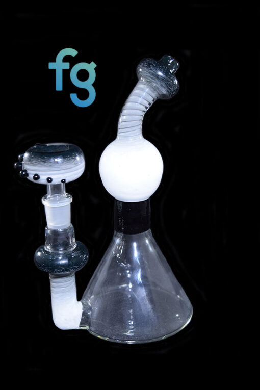Custom Hand Blown Black Fade Fritnado Heady Glass Dab Rig Waterpipe 14mm Minitube By BamBam Glass Available At Fourward Glass Gallery & Smoke Shop in St. Petersburg, Florida