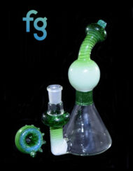 Custom Hand Blown Green Fade Fritnado Heady Glass Dab Rig Waterpipe 14mm Minitube By BamBam Glass Available At Fourward Glass Gallery & Smoke Shop in St. Petersburg, Florida