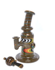Custom hand blown heady glass banger hanger dab rig wigwag minitube 10mm with Matching Worked Bubble Carb Cap by Andy G available at Fourward Glass Gallery & Smoke Shop in Downtown St. Petersburg, Florida