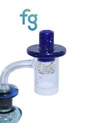 Blue Blizzard and Blu-V UV Glass Custom Hand Blown Heady Glass Flat Top Spinner Carb Cap For Quartz Banger on Dab Rig