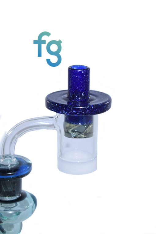 Blue Blizzard and Parallax CFL Glass Custom Hand Blown Heady Glass Flat Top Spinner Carb Cap For Quartz Banger on Dab Rig