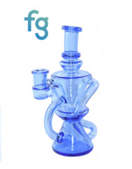 Blue Dream Custom Hand Blown Heady Glass Dual Uptake 10mm Recycler Dab Rig Waterpipe available at Fourward Glass Gallery & Smoke Shop in St. Petersburg, Tampa Bay, Florida