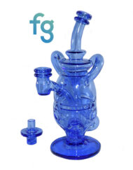 Blue Dream Custom Hand Blown HEady Glass Waterpipe 14mm Dual Uptake Fab Egg Recycler Eggcycler Dab Rig with Matching Spinner Carb