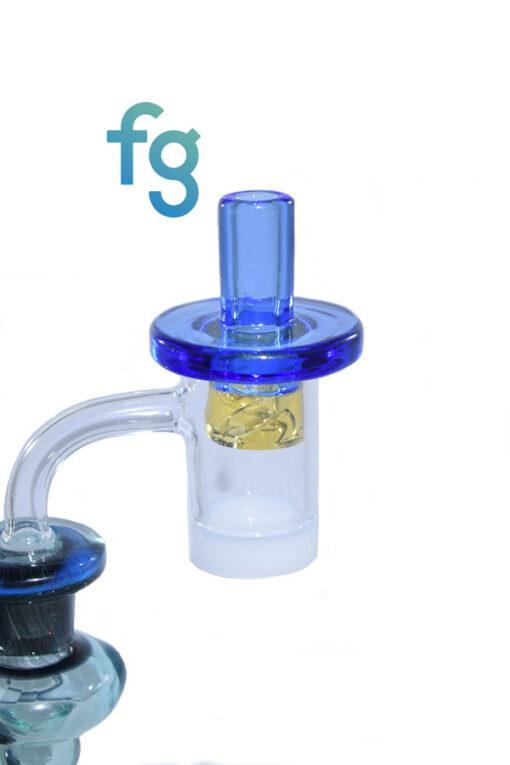 Blue Dream Custom Hand Blown Heady Glass Flat Top Spinner Carb Cap For Quartz Banger on Dab Rig