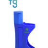 Ooze - Blue EZ Plastic Pipe with Metal Removable Bowl Piece with swing cap and removable poker