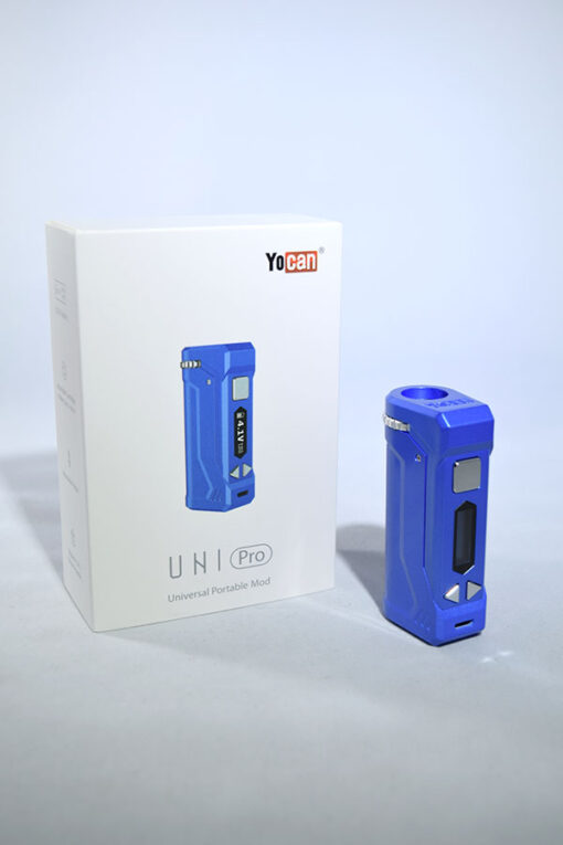 Blue Yocan Uni Pro Adjustable Voltage Drop In 510 Thread Vape Battery for Cartridges available at Fourward Glass Gallery & Smoke Shop in Downtown St. Petersburg, Florida