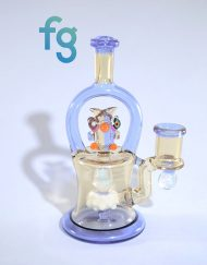 CFL Reactive Custom Heady Glass Owl Banger Hanger Waterpipe Minitube Vapor Rig by RJ Glass