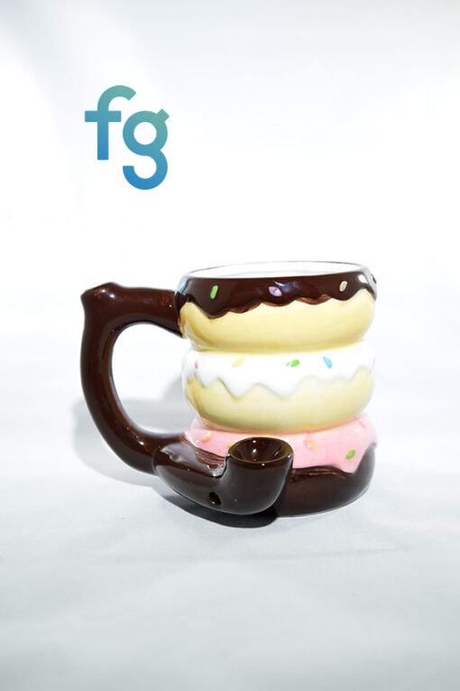 Donut Ceramic Mug Pipe available at Fourward Glass Gallery & Smokeshop in St. Petersburg, FL
