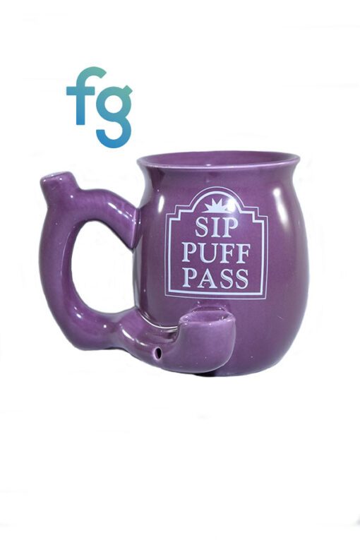 available at Fourward Glass Gallery & Smokeshop in St. Petersburg, FL Sip Puff Pass Ceramic Mug Pipe