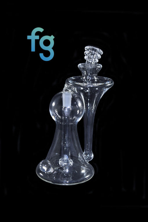 available at Fourward Glass Gallery & Smokeshop in St. Petersburg, FL Custom Hand Blown Clear Heady Glass Recycler by Lid Glass