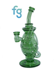 Crippy Custom Hand Blown HEady Glass Waterpipe 14mm Dual Uptake Fab Egg Recycler Eggcycler Dab Rig with Matching Spinner Carb
