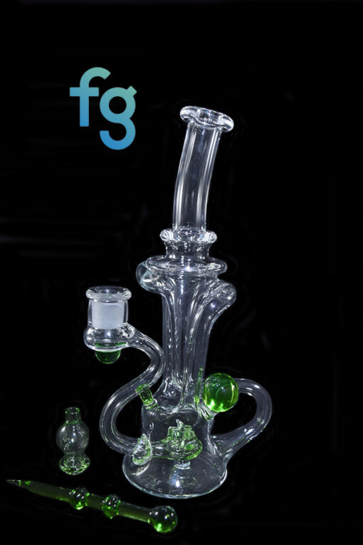 Crippy 14mm Custom Hand Blown Heady Glass Dual Uptake Floating Recycler Waterpipe Dab Rig with Matching Dabber and Bubble Cap by Prophecy Glass available at Fourward Glass Gallery & Smoke Shop in Tampa Bay, St. Petersburg, Florida