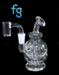available at Fourward Glass Gallery & Smokeshop in St. Petersburg, FL Custom Hand Blown Scientific Waterpipe 10mm Mini Egg Rig MJ Arsenal Royale with Quartz Nail Banger