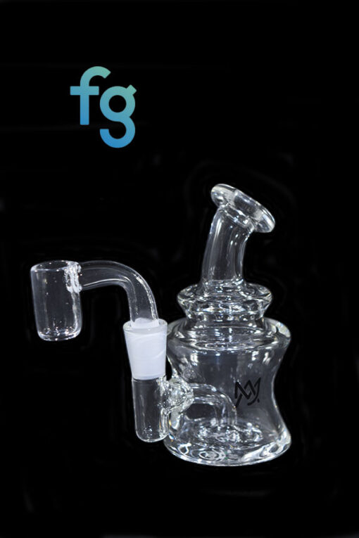 available at Fourward Glass Gallery & Smokeshop in St. Petersburg, FL Custom Hand Blown Scientific Waterpipe 10mm Minitube Rig MJ Arsenal Jammer with Quartz Nail Banger