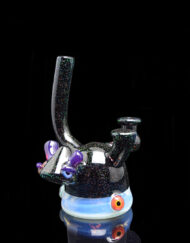 Custom Hand Blown Heady Glass Ghost and Crushed Opal Lerker Head 10mm Dab Rig By Lerk The World available at Fourward Glass Gallery & Smoke Shop in Downtown St. Petersburg, Florida