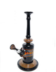 Custom Hand Blown Heady Glass Fire & Ice Wig Wag 10mm Minitube with Removable Downstem by Hedman Headies available at Fourward Glass Gallery & Smoke Shop in Downtown St. Petersburg, Florida