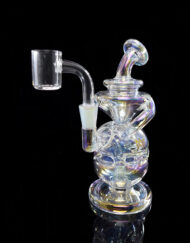 Custom Hand Blown Scientific 10mm Iridescent Collection Infinity Recycler Dab Rig with Quartz Banger by MJ Arsenal Available at Fourward Glass Gallery & Smoke Shop in Downtown St. Petersburg, Florida