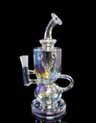 Custom Hand Blown Scientific 10mm Iridescent Collection Titan Recycler Dab Rig with Quartz Banger by MJ Arsenal Available at Fourward Glass Gallery & Smoke Shop in Downtown St. Petersburg, Florida