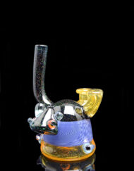 Custom Hand Blown Heady Glass Terps (CFL color changing) and Crushed Opal Lerker Head 10mm Dab Rig By Lerk The World available at Fourward Glass Gallery & Smoke Shop in Downtown St. Petersburg, Florida