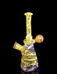 Custom Hand Blown Heady Glass 10mm Terps CFL reactive color changing Dab Rig Pollock-Tech Minitube By Daddyo Glass available at Fourward Glass Gallery & Smoke Shop in Downtown St. Petersburg, Florida