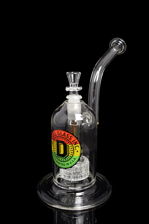 Custom Hand Blown 14mm 75x5 Barrel Perc Bubbler with Dry Ash Catcher by Diesel Glass available at Fourward Glass Gallery & Smoke Shop in Downtown St. Petersburg, Florida