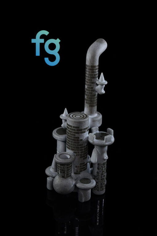 10mm Grey Custom Hand Blown Heady Glass Dab Rig Waterpipe Mini Castle By Jebb Glass available at Fourward Glass Gallery & Smoke Shop in Downtown St. Petersburg, Florida