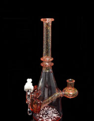 Custom Hand Blown Heady Glass 10mm Dichro over Pomegranate Polar Bear Minitube Dab Rig By Murky Waters Studio available at Fourward Glass Gallery & Smoke Shop in Downtown St. Petersburg, Florida