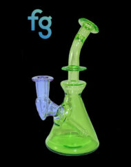 14mm Banger Hanger Haterade and Exp. 19 CFL Color Changing Custom Hand Blown Heady Glass Minitube Dab Rig