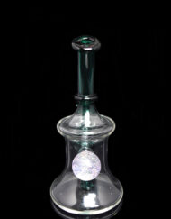 Custom Hand Blown 14mm Banger Hanger Minitube Dab Rig with Teal accents and Dichro Marble by Boss Haas available at Fourward Glass Gallery & Smoke Shop in Downtown St. Petersburg, Florida