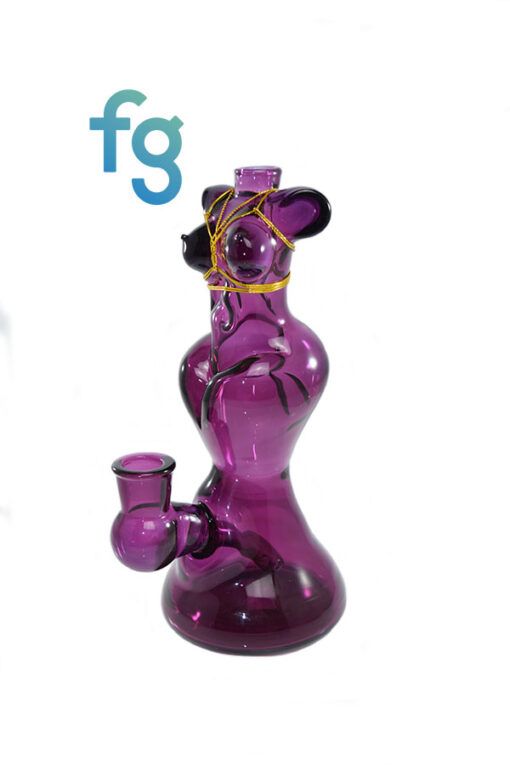 Custom Hand Blown 14mm Molten Aura Gold Amethyst Bondage Babe Dab Rig by KTScissorbaby available at Fourward Glass Gallery & Smoke Shop in Downtown St. Petersburg, Florida