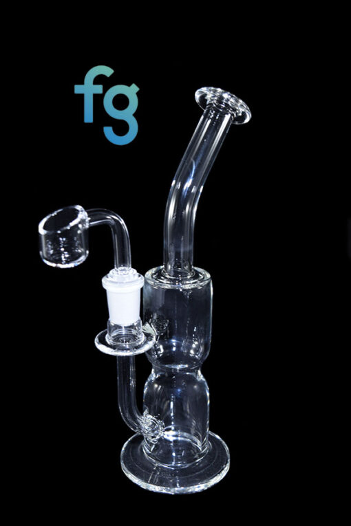 14mm Custom Hand Blown Hour Glass Waterpipe Dab Rig by Dume Glass with 14mm Quartz Banger