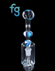 14mm Blue and White Custom Hand Blown Heady Glass Inline Waterpipe Dab Rig By Daft Atx with Matching Slide