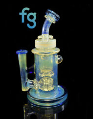 Custom Hand Blown Heady Glass Blue Dream & Color Changing Silver Fume and Cold Worked 10mm Mini Torus Incycler Dab Rig by Bronx Glass available at Fourward Glass Gallery & Smoke Shop in Downtown St. Petersburg Florida