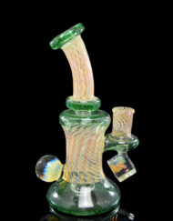 Custom Hand Blown Heady Glass 14mm Fumed Minitube Dab Rig By JD Maplesden and Hefe available at Fourward Glass Gallery & Smoke Shop in Downtown St. Petersburg, Florida