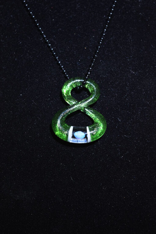 Custom Hand Blown Heady Glass Infinity Pendant Necklace with Opal by Natey Love available at Fourward Glass Gallery & Smokeshop in St. Petersburg, FL