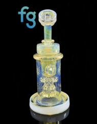 Custom Hand Blown Heady Glass Moonstone & Color Changing Silver Fume and Cold Worked 10mm Mini Torus Incycler Dab Rig by Bronx Glass available at Fourward Glass Gallery & Smoke Shop in Downtown St. Petersburg Florida