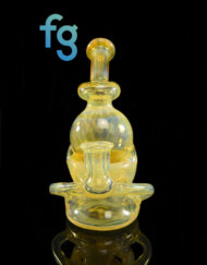 Custom Hand Blown Heady Glass 10mm NS Yellow Fab Orb Dab Rig by Continuum Glass available at Fourward Glass Gallery & Smoke SHop in Downtown St. Petersburg, Florida