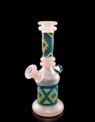 Custom Hand Blown Heady Glass Carved Pink and Agua 10mm Minitube Dab Rig with encased opal by Amani Summerday available at Fourward Glass Gallery & Smoke Shop in downtown St. Petersburg, Florida