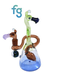 Custom Hand Blown Heady Glass 14mm Double Dodo Wormhole Collab. By JD Maplesden and Burtoni available at Fourward Glass Gallery & Smoke Shop in Downtown St. Petersburg Florida