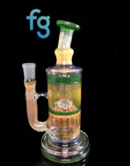 Custom Hand Blown Scientific Glass Fumed Encantada 14mm Dry Bottom to Showerhead Percolator Tube By Tagle Glass available at Fourward Glass Gallery & Smoke Shop in Downtown St. Petersburg Florida