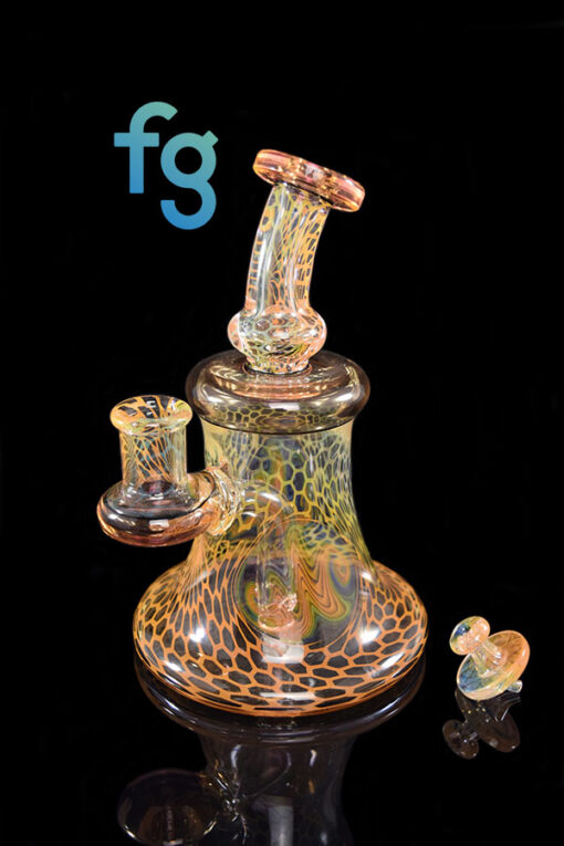 Custom Hand Blown Heady Glass Gold and Silver Fumed Honeycomb Guild Minitube with CFL Color Changing Exp. 31 Accents by Hefe Glass available at Fourward Glass Gallery & Smoke Shop in Downtown St. Petersburg Florida