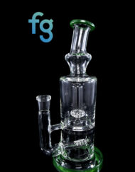Custom Hand Blown Scientific Glass 14mm Gridline to Showerhead Percolator Tube With OG Moss Accents By Tagle Glass available at Fourward Glass Gallery & Smoke Shop in Downtown St. Petersburg Florida