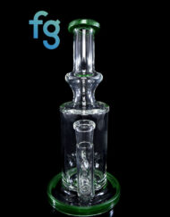 Custom Hand Blown Scientific Glass 14mm Gridline Percolator Tube With OG Moss Accents By Tagle Glass available at Fourward Glass Gallery & Smoke Shop in Downtown St. Petersburg Florida