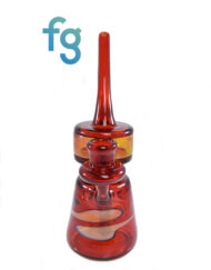 Custom Hand Blown Heady Glass 14mm Pomegranate and NS Yellow Whimsy Tower Dab Rig Minitube By Germlion available at Fourward Glass Gallery & Smoke Shop in Downtown St. Petersburg, Florida
