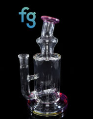 Custom Hand Blown Scientific Glass 14mm Gridline Percolator Tube With Purple Rainbow Accents By Tagle Glass available at Fourward Glass Gallery & Smoke Shop in Downtown St. Petersburg Florida