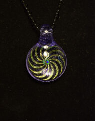 Custom Hand Blown Heady Glass Dichroic Glass Sacred Geometry Pendant Necklace with Opal by Subtl available at Fourward Glass Gallery & Smokeshop in St. Petersburg, FL