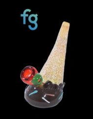 Chocolate Custom Hand Blown Heady Glass Waterpipe ICe Cream Bubbler by Christina Cody